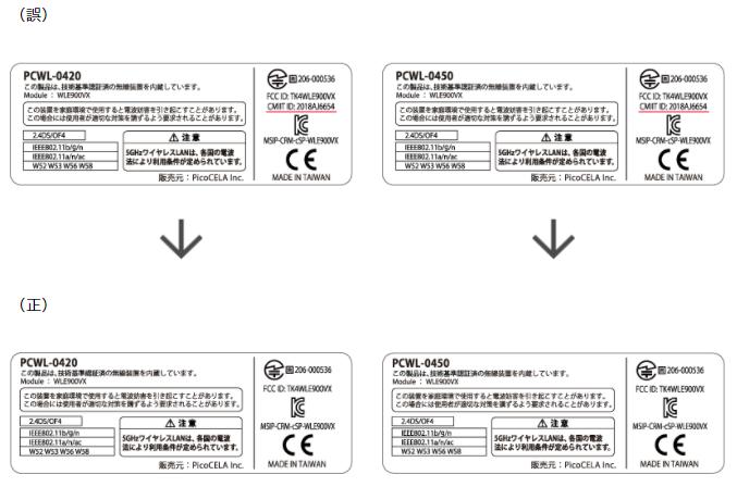 「無線LANアクセスポイント PCWL-0420」及び「無線LANアクセスポイント PCWL-0450」の技術基準適合証明番号の記載間違いについて